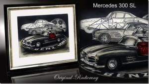 Bernd Lehmann MERCEDES 300 SL Original-Radierung