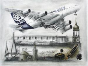 Bernd Lehmann Radierung Airbus A380
